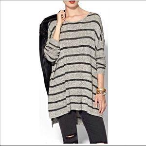 FREE PEOPLE Oversized Gray Striped Tunic Sweater